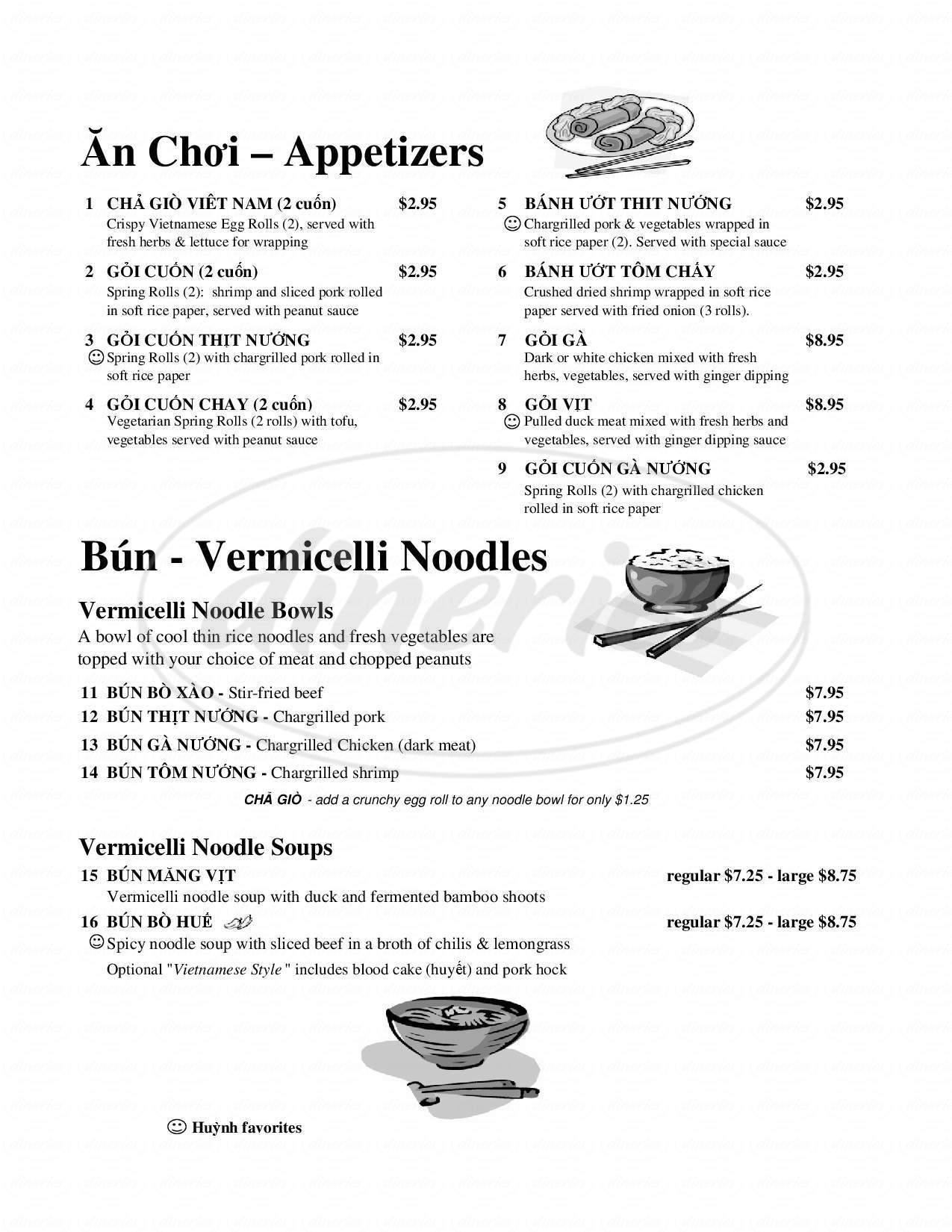 menu for Huynh