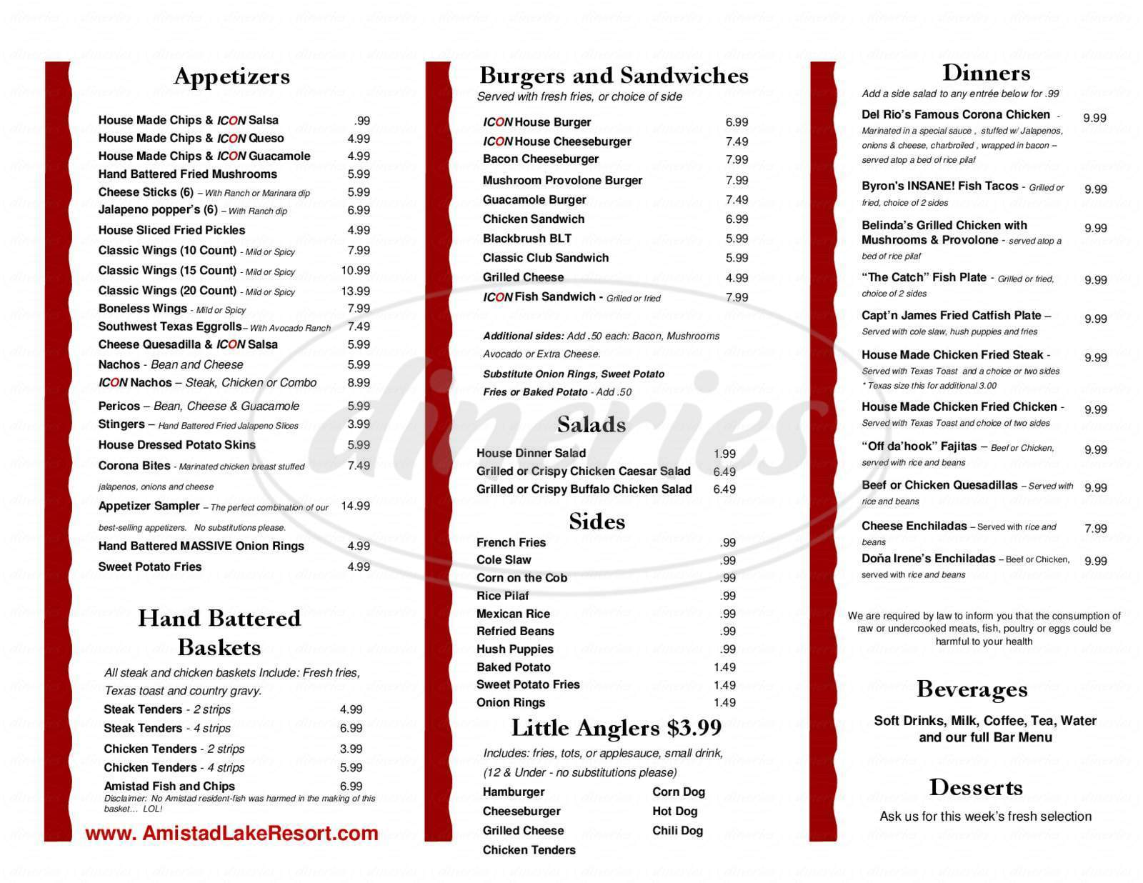menu for ICON Bar and Grill