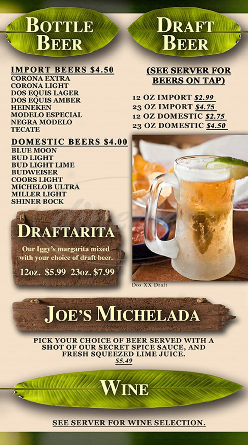 menu for Iguana Joe's
