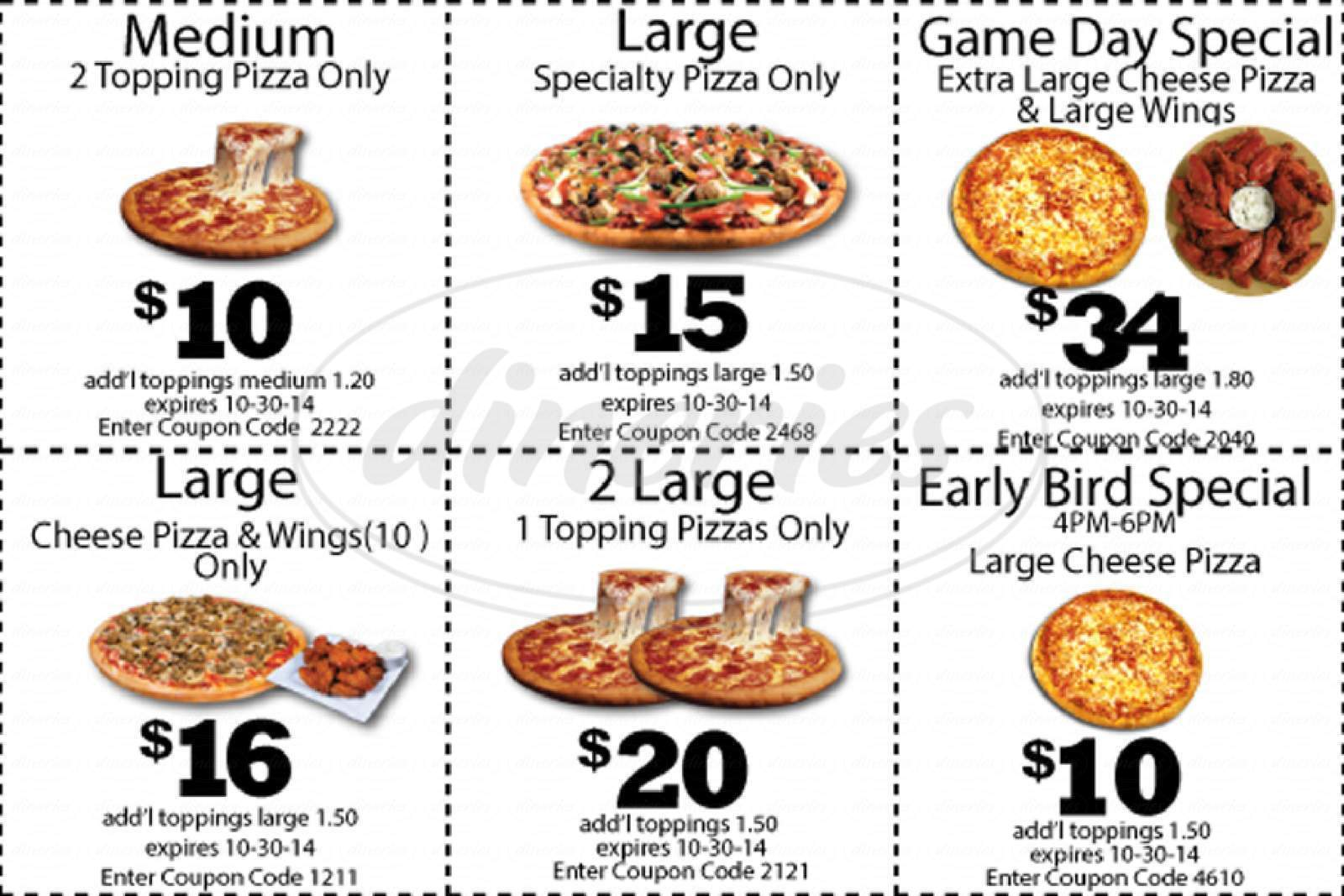 menu for Il Primo Pizza & Wings