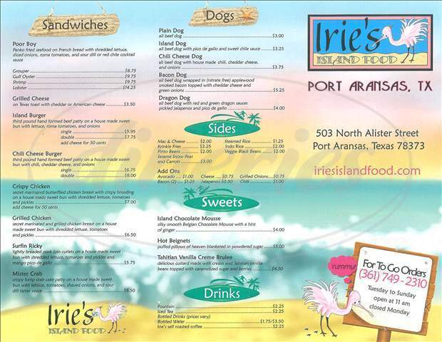 menu for Irie's Island Food