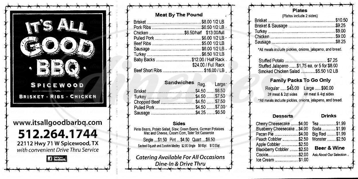 menu for It's All Good Bar-B-Q