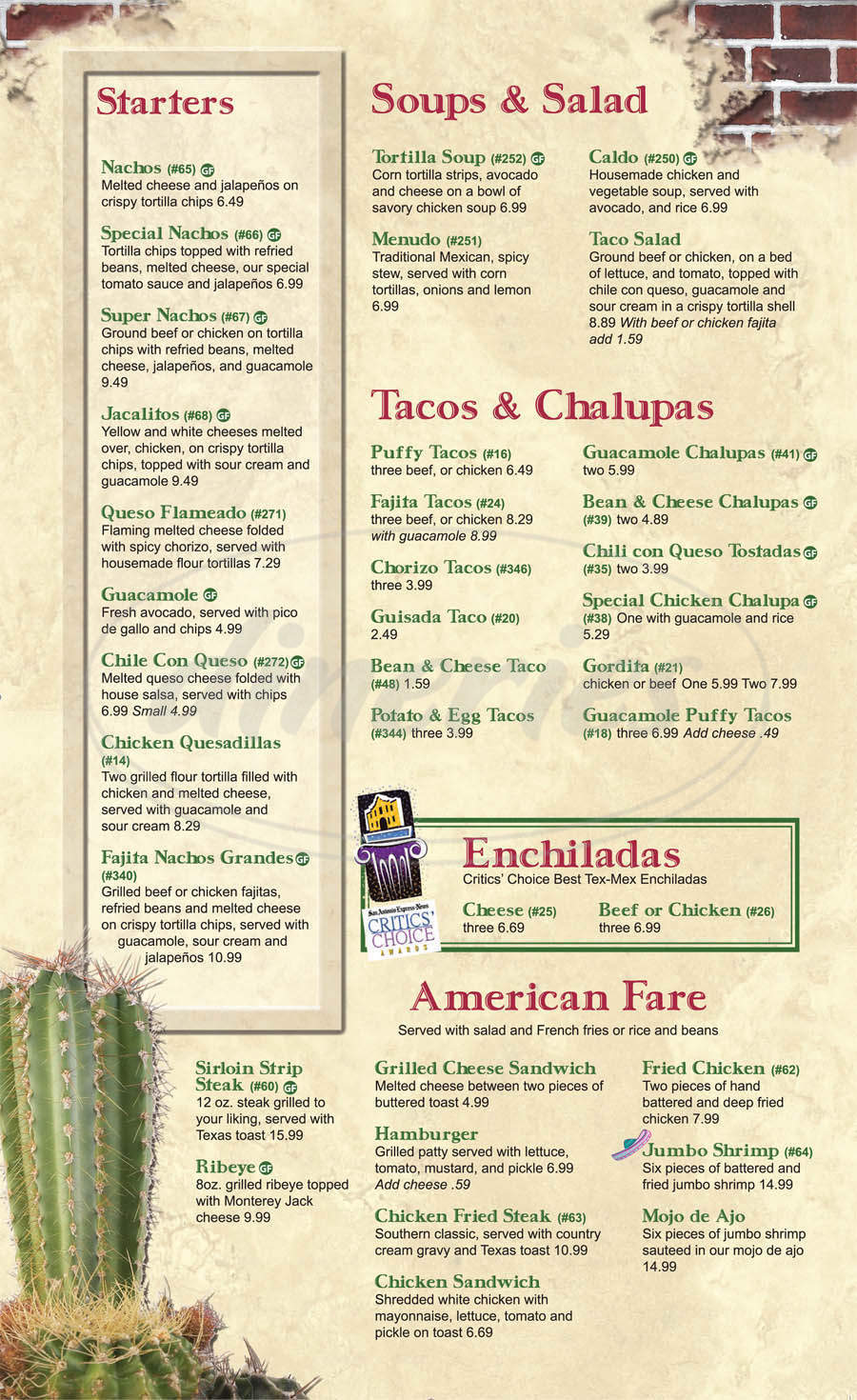 menu for Jacala Mexican Restaurant