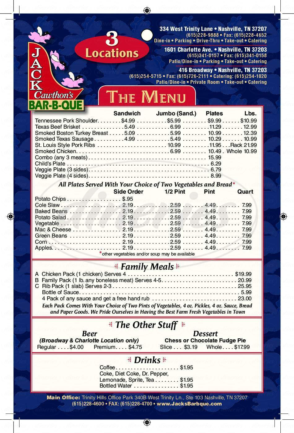menu for JACK'S BAR-B-QUE