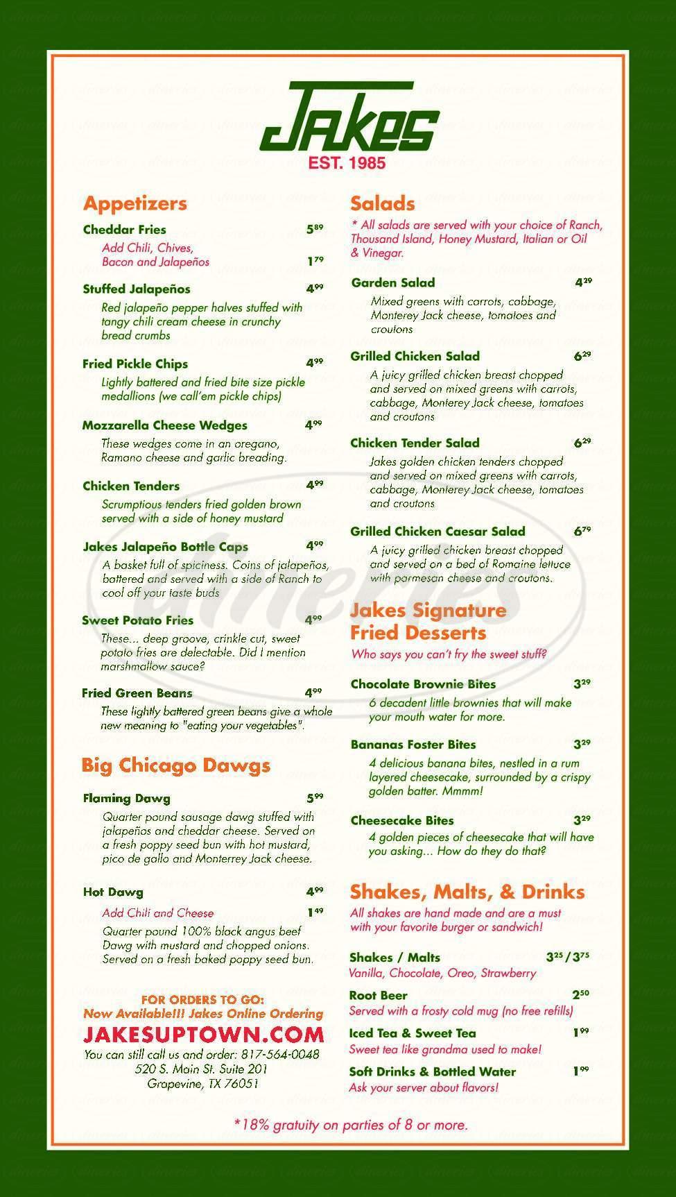 menu for Jake's Burgers