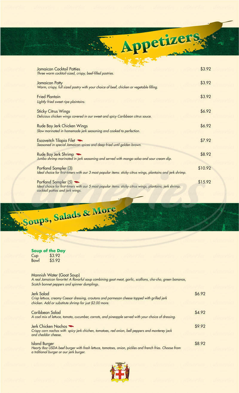 menu for Jamaica Gates Caribbean Cuisine
