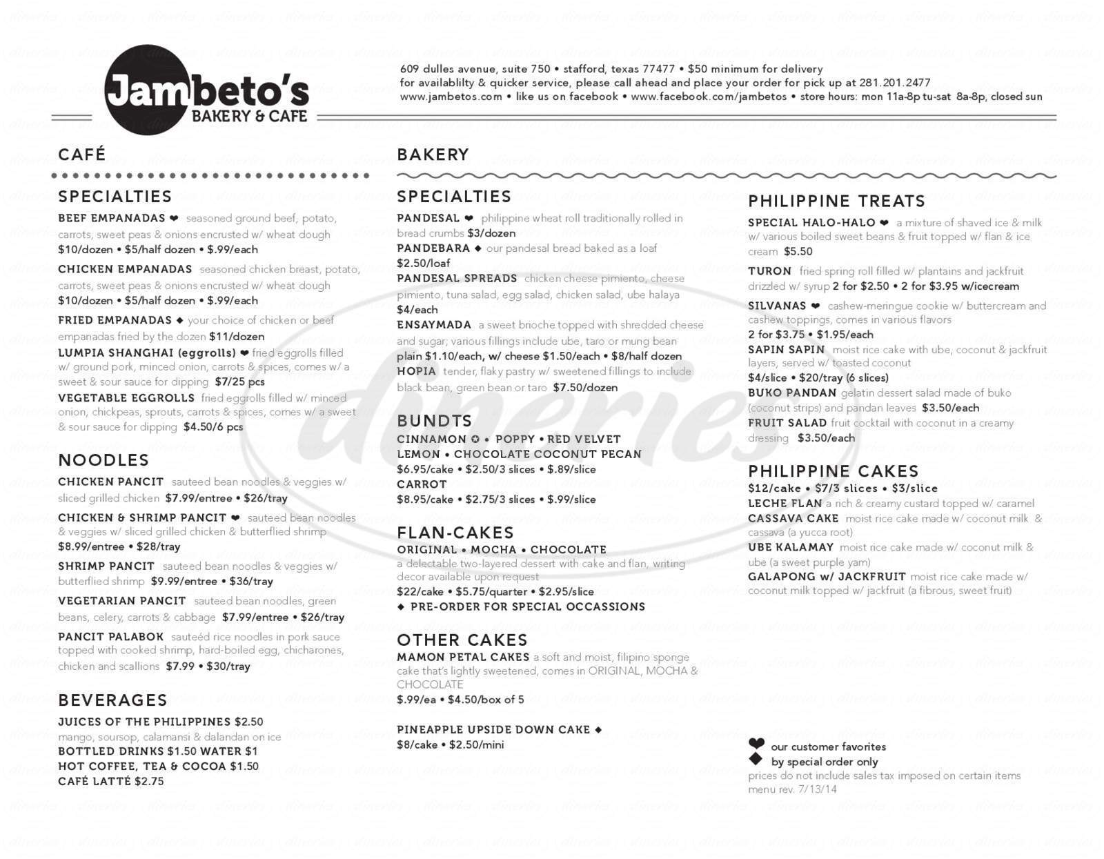 menu for Jambeto's Bakery & Café