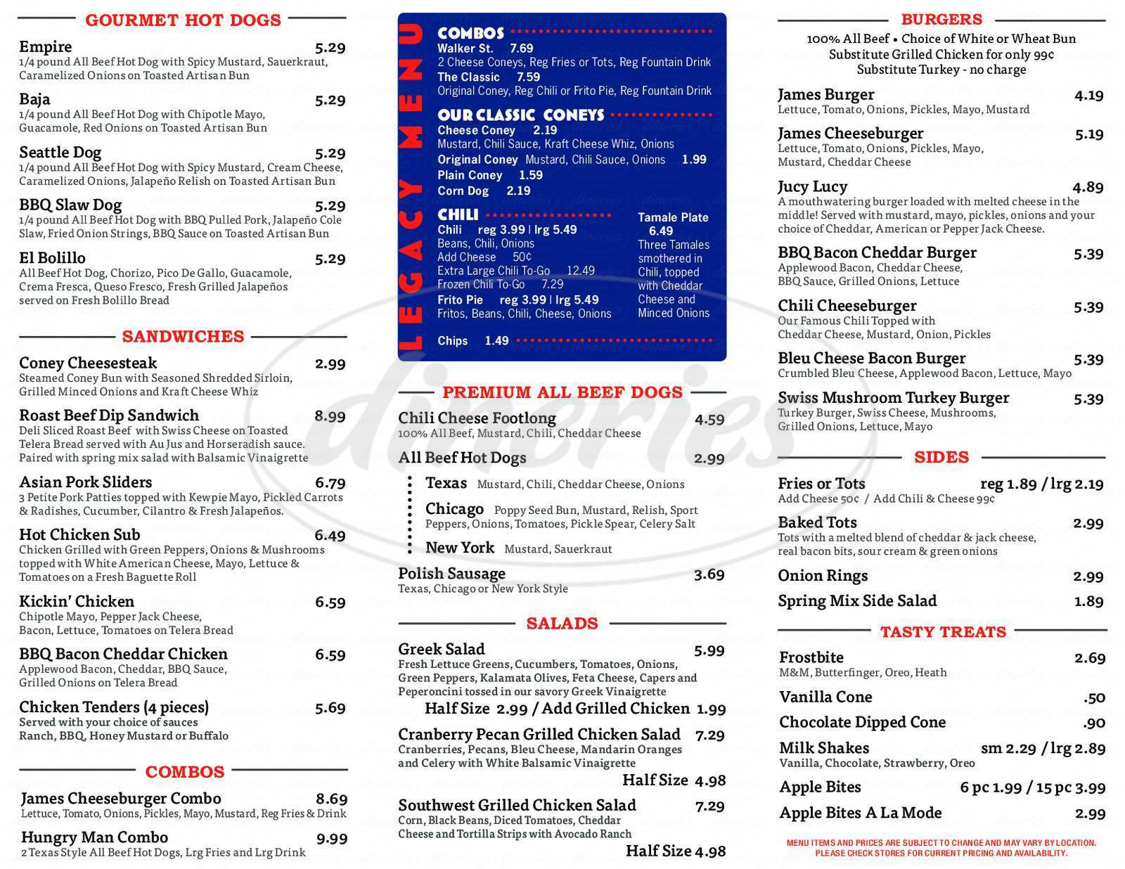 menu for James Coney Island
