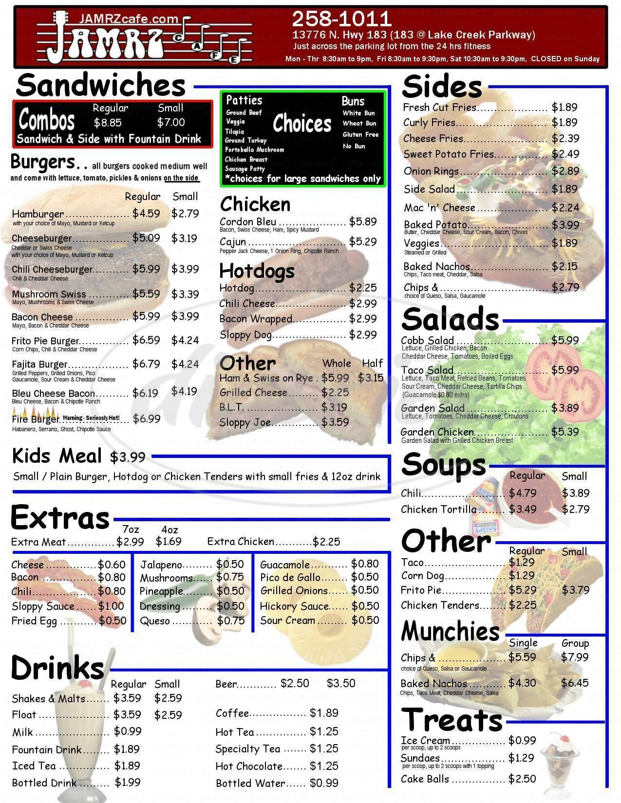 menu for JAMRZ Cafe