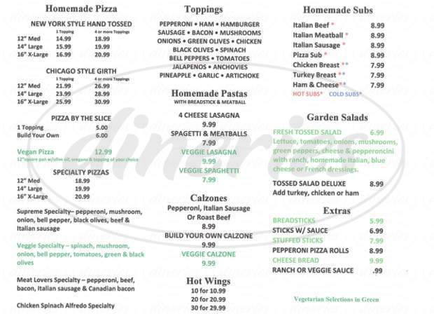 menu for J & J's Pizza