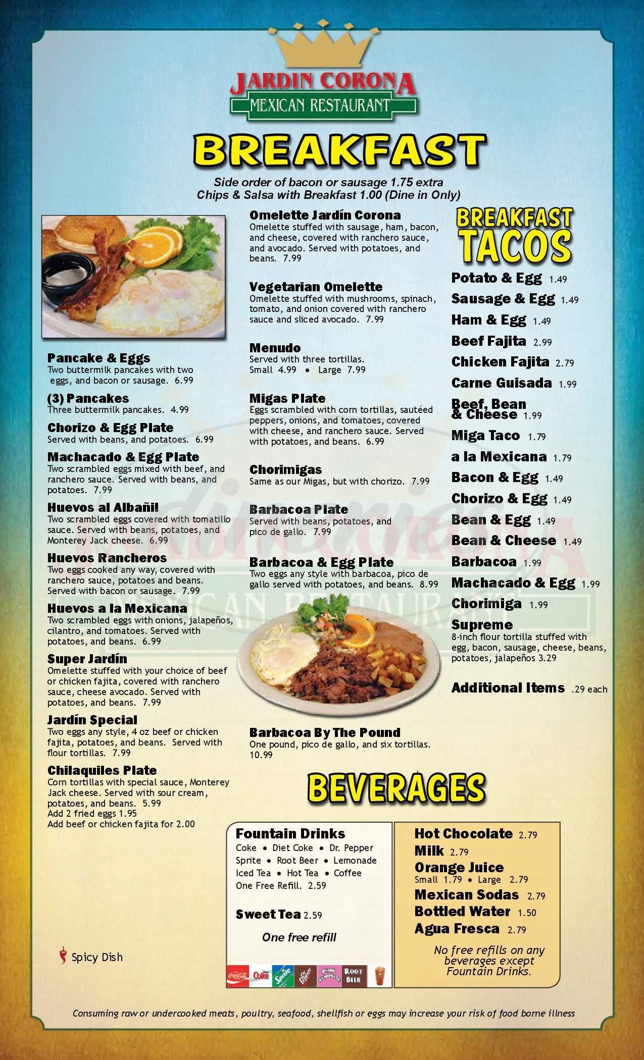 menu for Jardin Corona Mexican Restaurant
