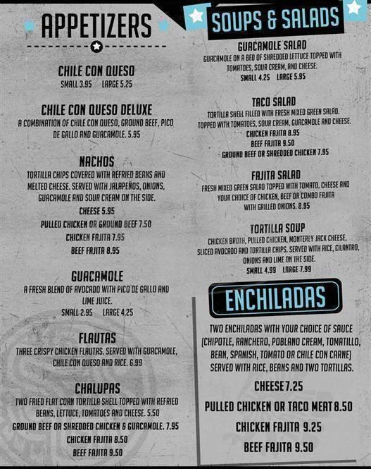 menu for Javi's Best of Tex-Mex