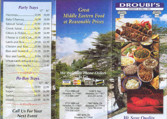 menu for Droubi's Bakery & Deli