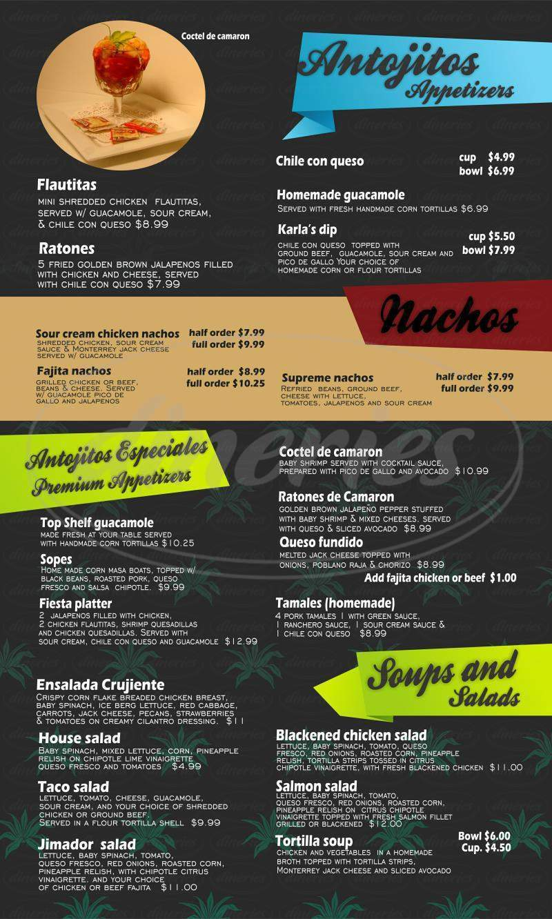 menu for Los Jimadores Tex-Mex Tequila Factory