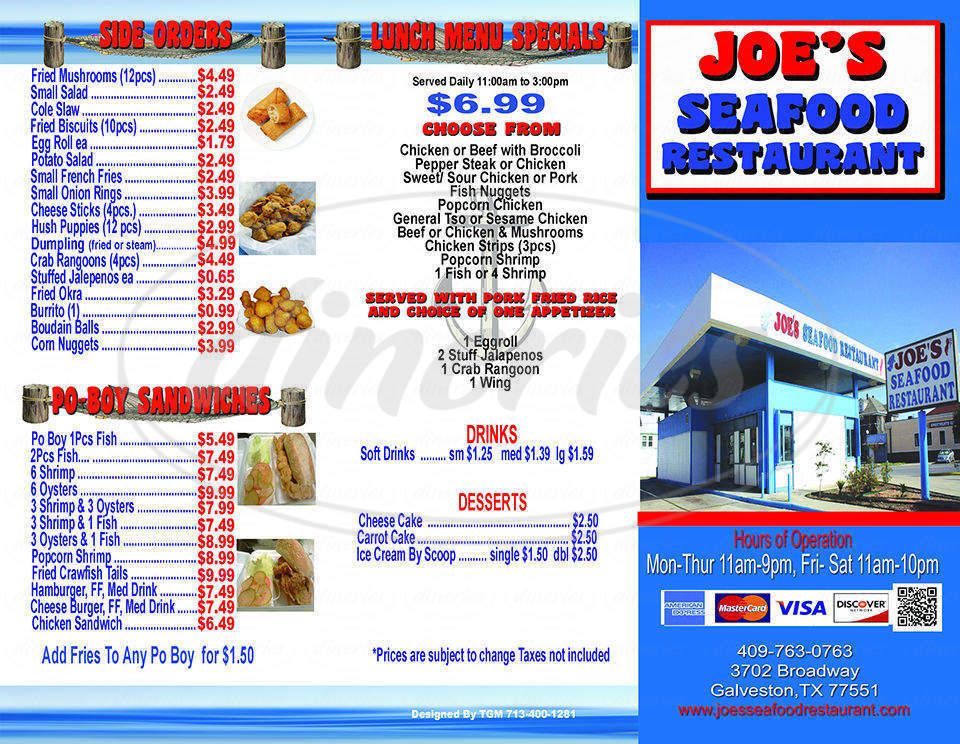 menu for Joe's Seafood Restaurant