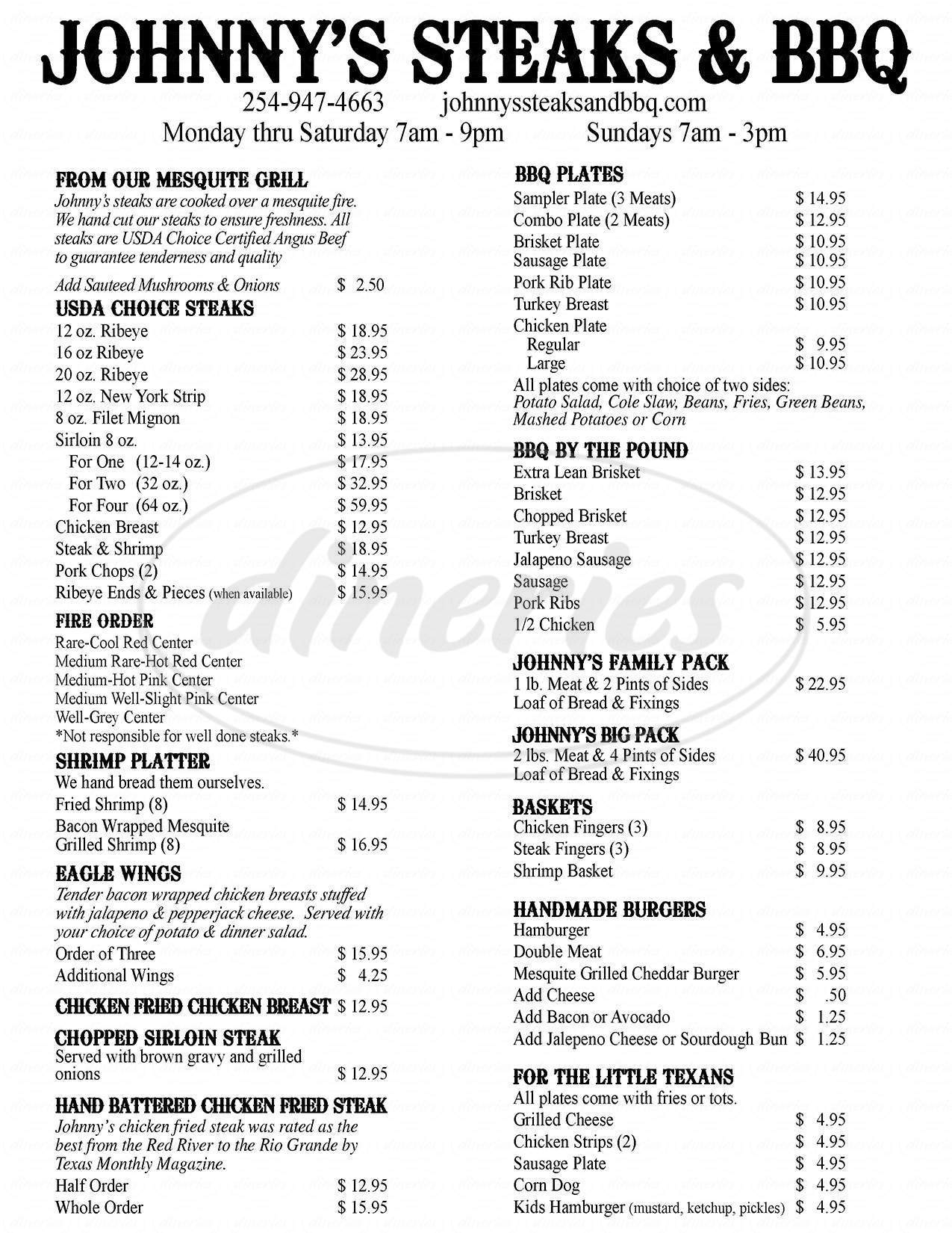 menu for Johnny's Steaks & Bar Be Que