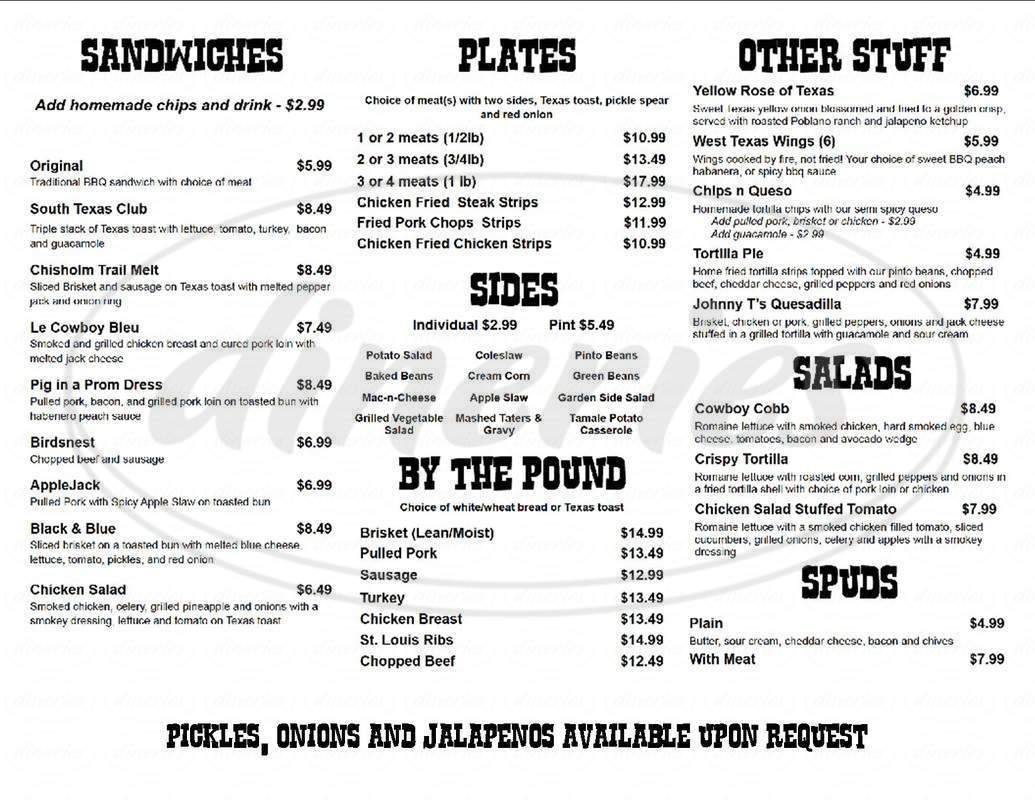 menu for Johnny T's BBQ