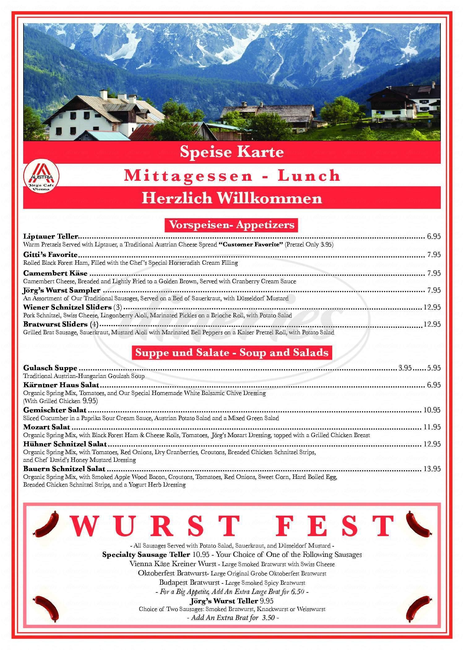 menu for Jorg's Cafe Vienna