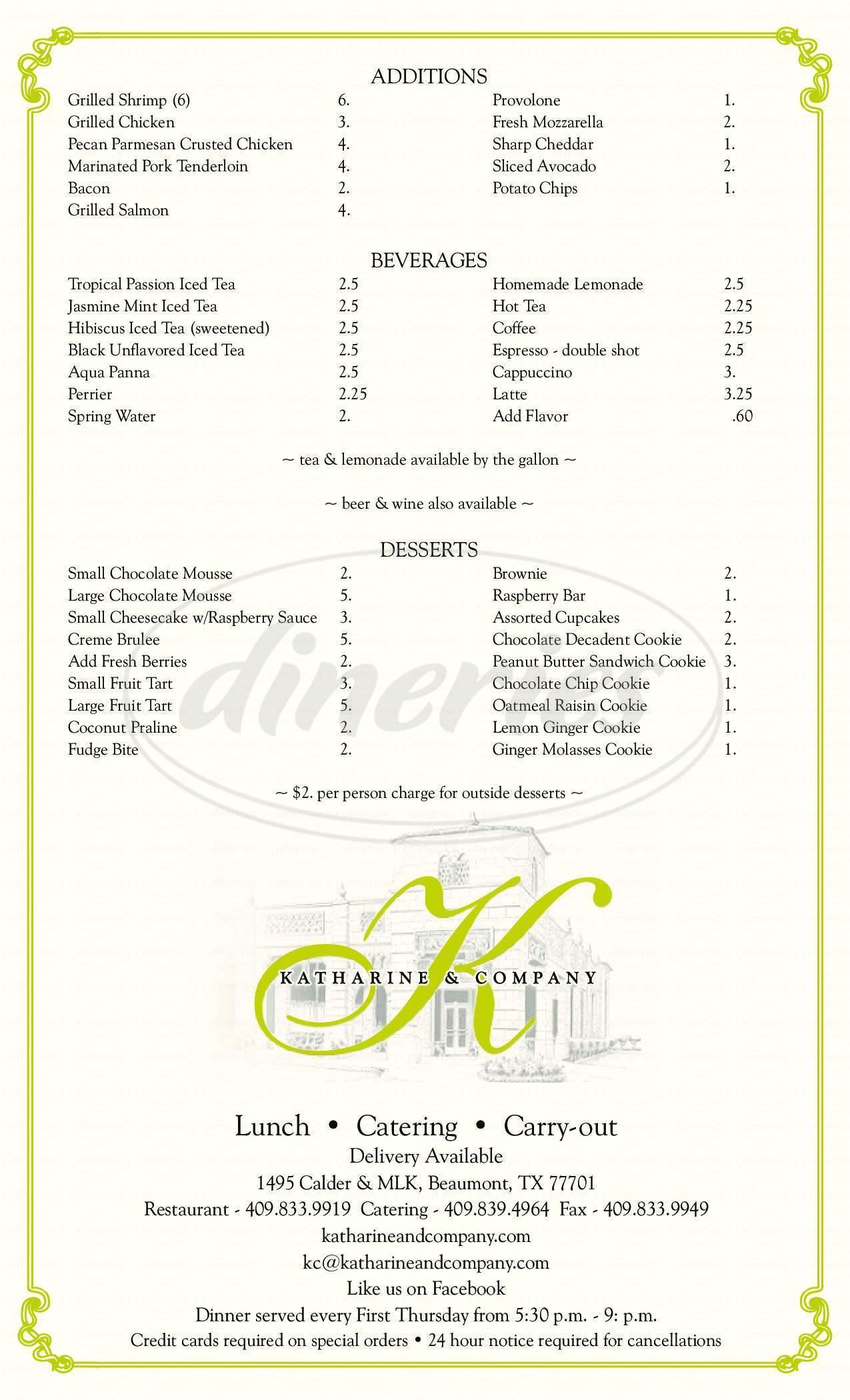 menu for Katharine & Company