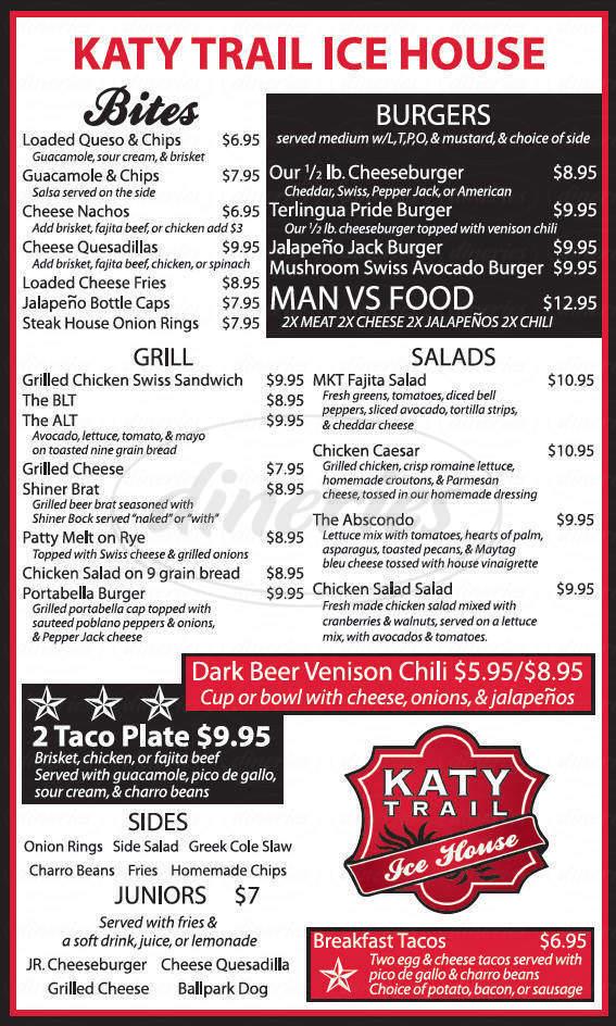 menu for Katy Trail Ice House