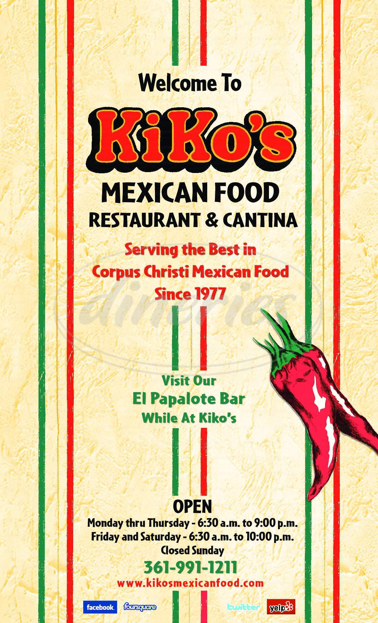 menu for Kiko's Mexican Food Restaurant & Cantina