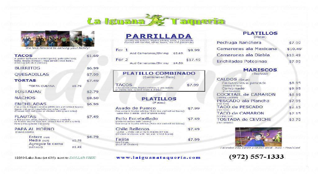 menu for La Iguana Taqueria