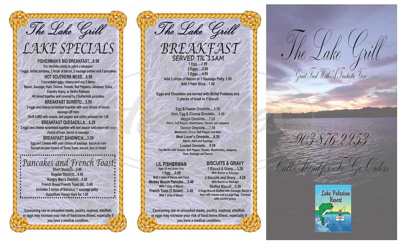 menu for The Lake Grill at Lake Palestine Resort