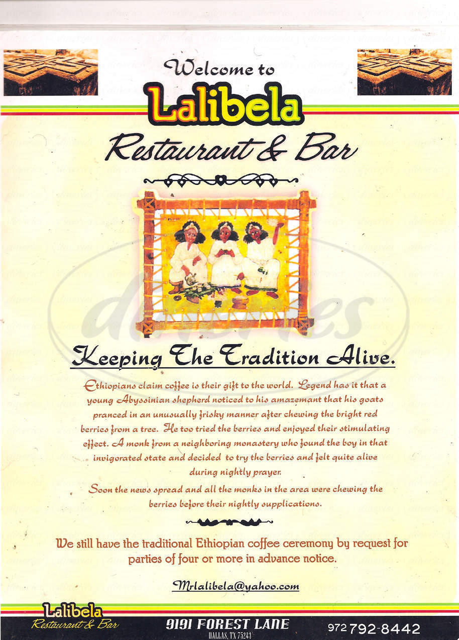 menu for Lalibela Ethiopian Restaurant