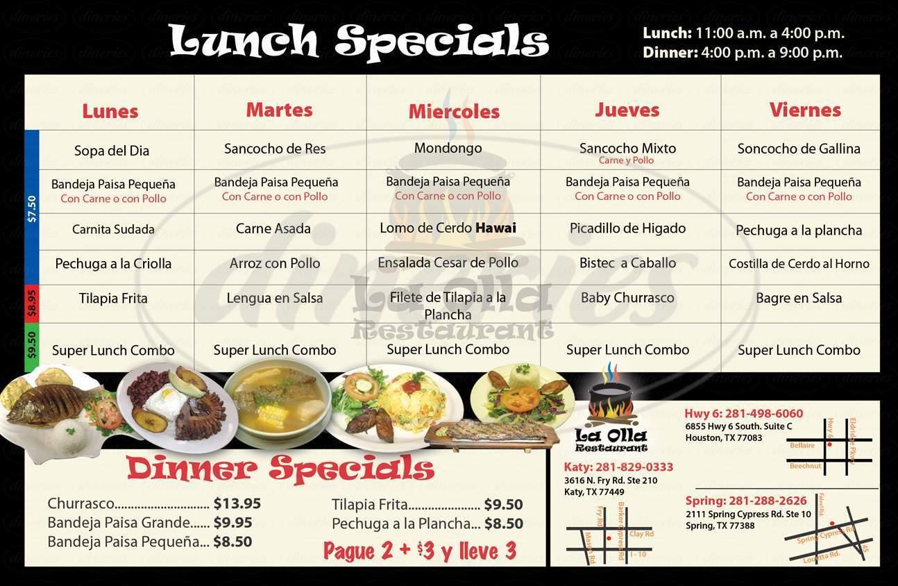 menu for La Olla Restaurant