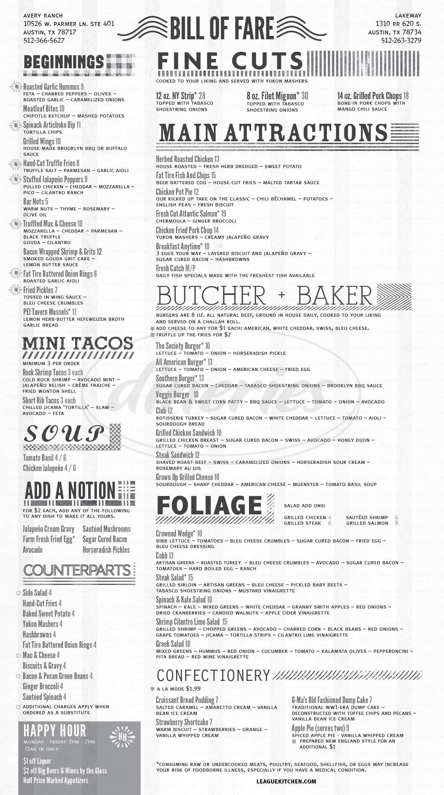 menu for The League Kitchen & Tavern