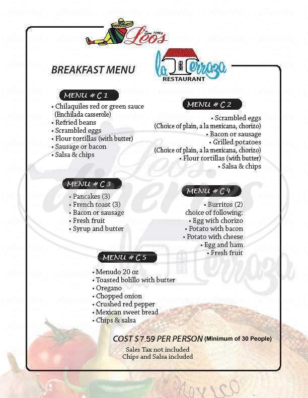 menu for Leo's Mexican Food Restaurants