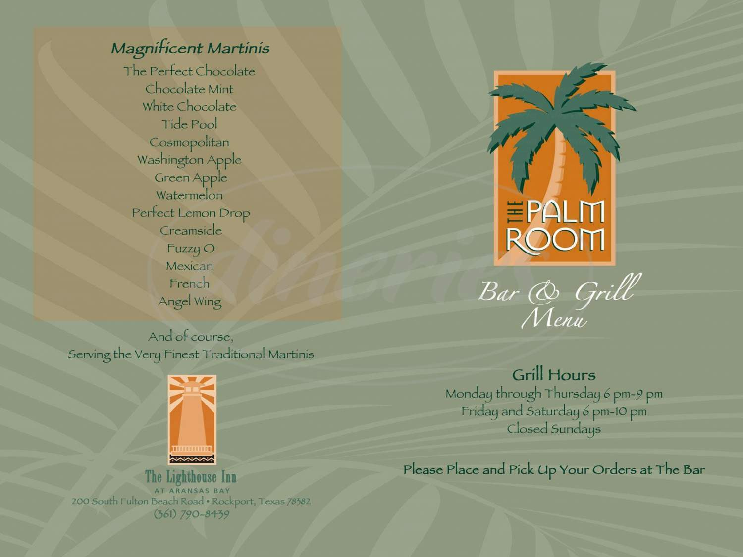 menu for The Palm Room