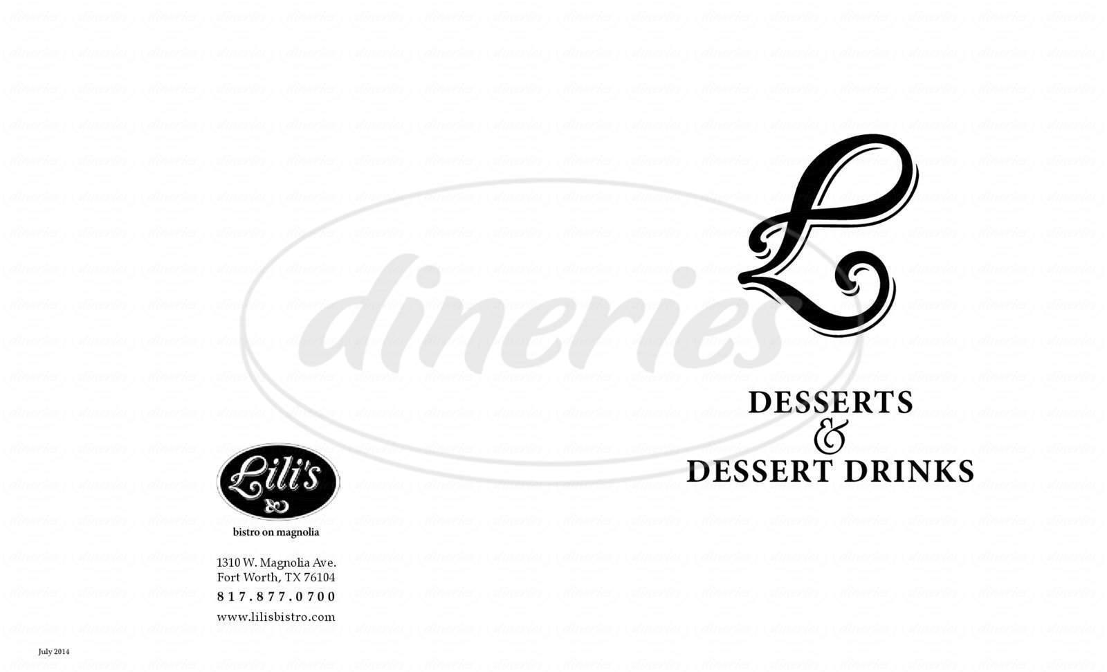 menu for Lili's