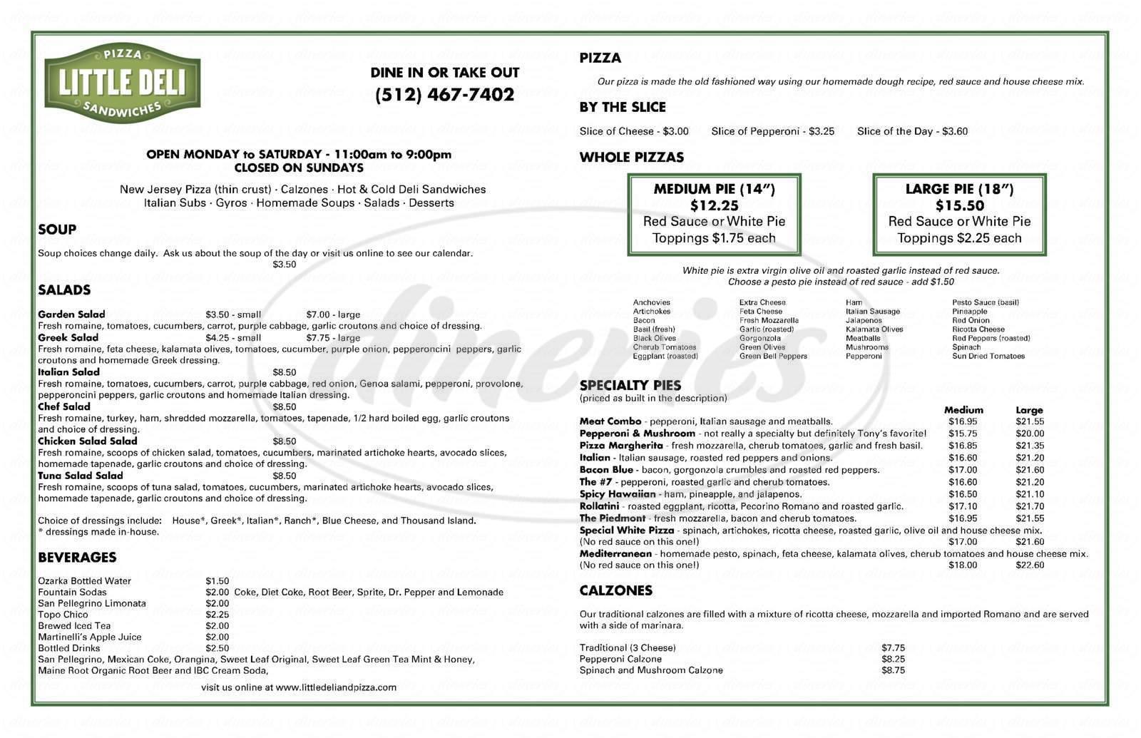 menu for Little Deli & Pizzeria