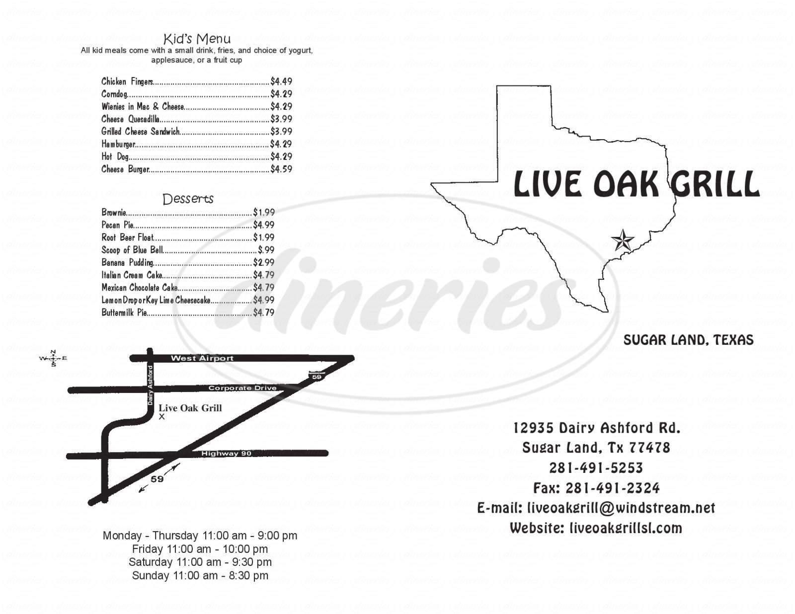 menu for Live Oak Grill