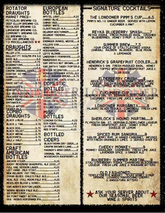 menu for The Londoner
