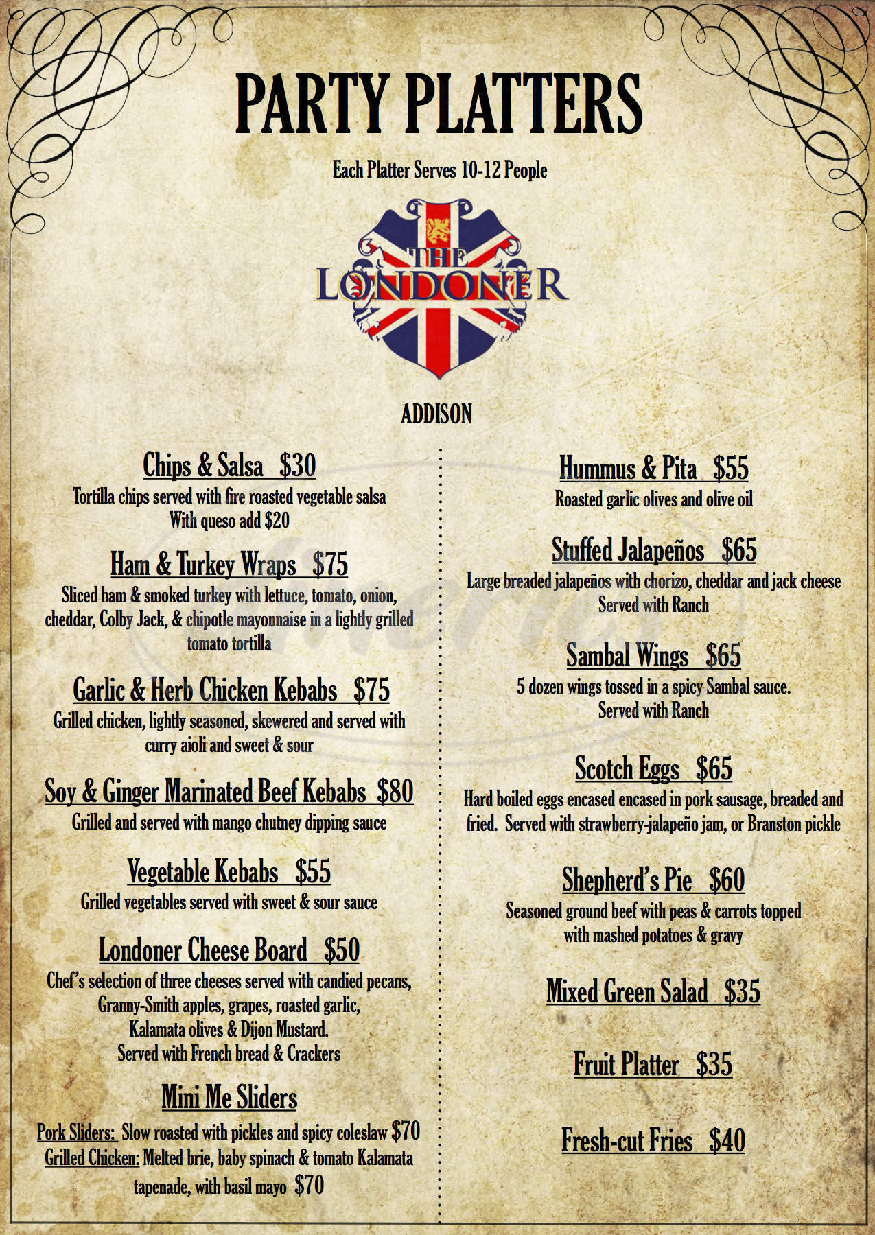 menu for The Londoner