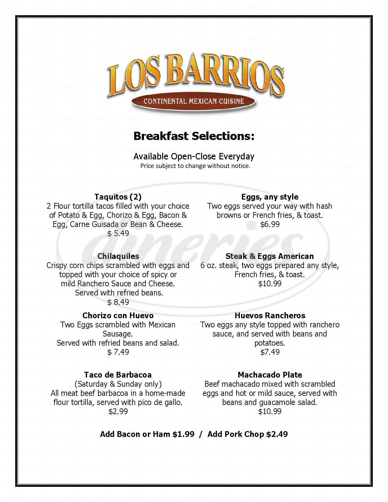 menu for Los Barrios Mexican Restaurant