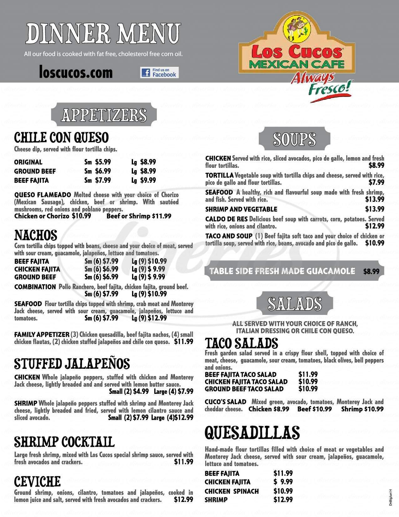 menu for Los Cucos Mexican Cafe