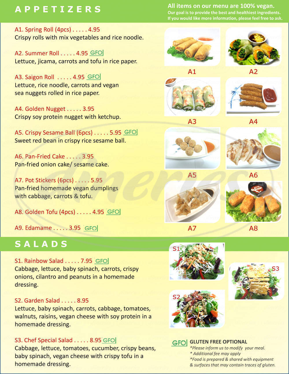 menu for Loving Hut