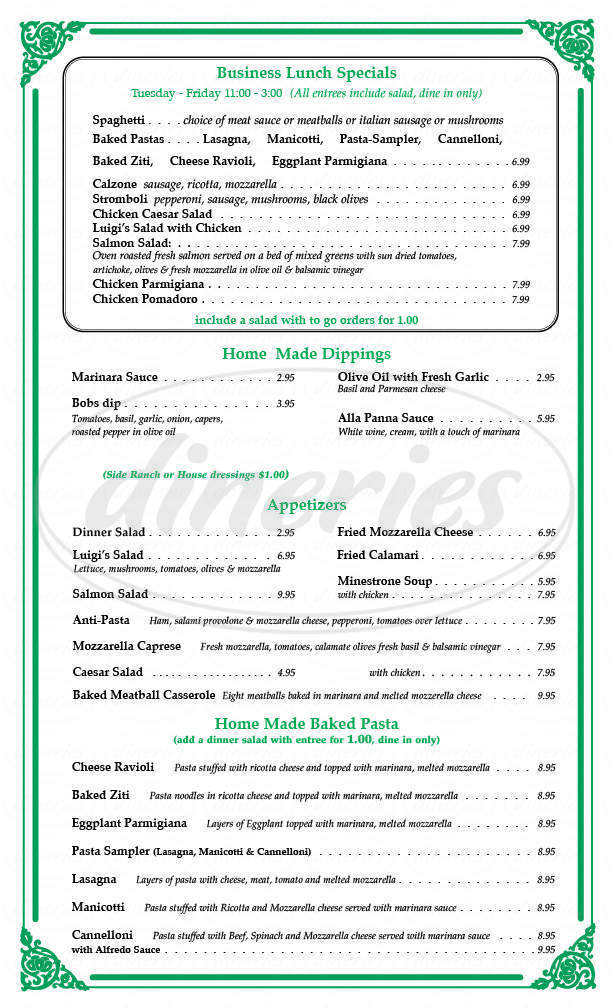 menu for Luigi's Italian Cafe