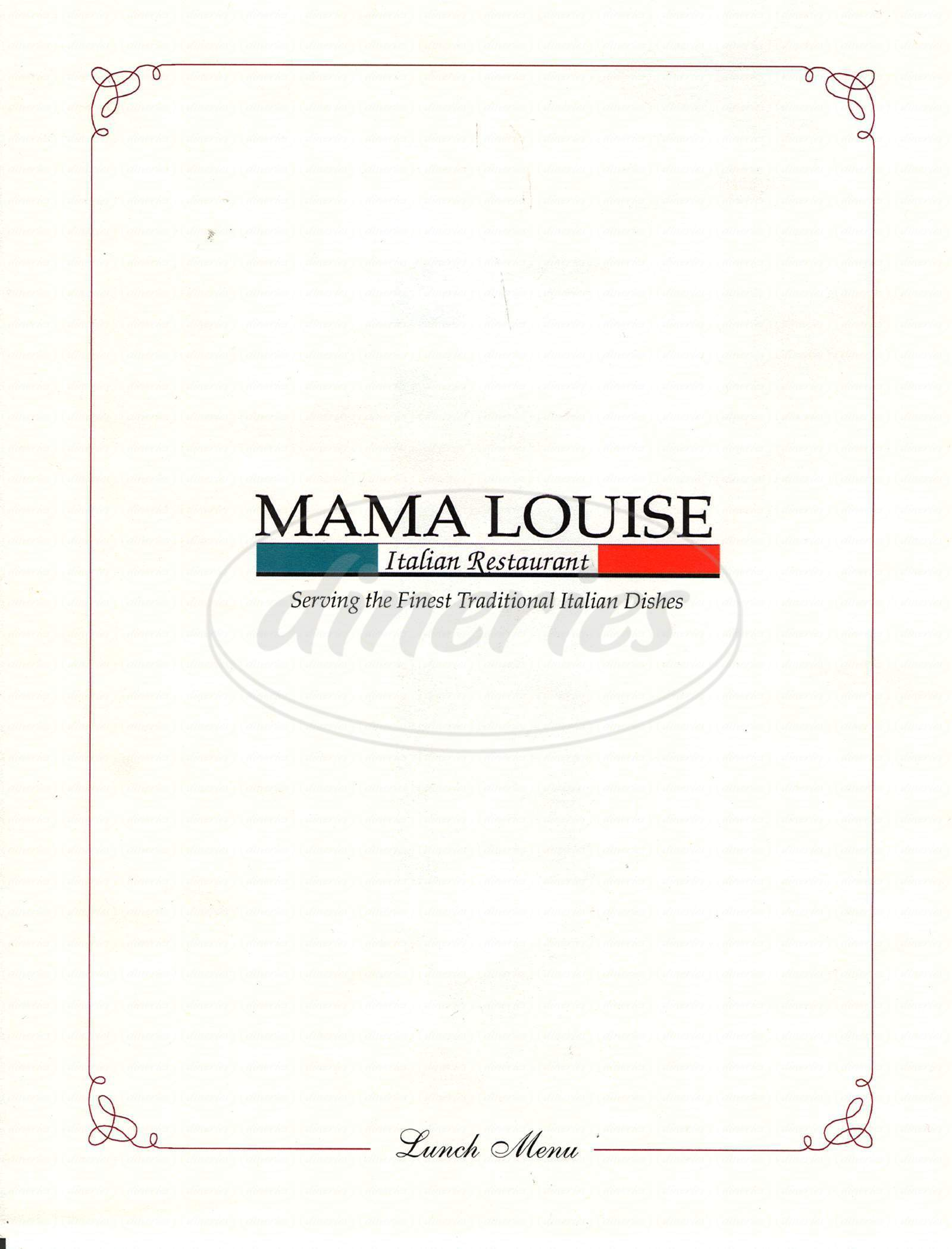 menu for Mama Louise Italian