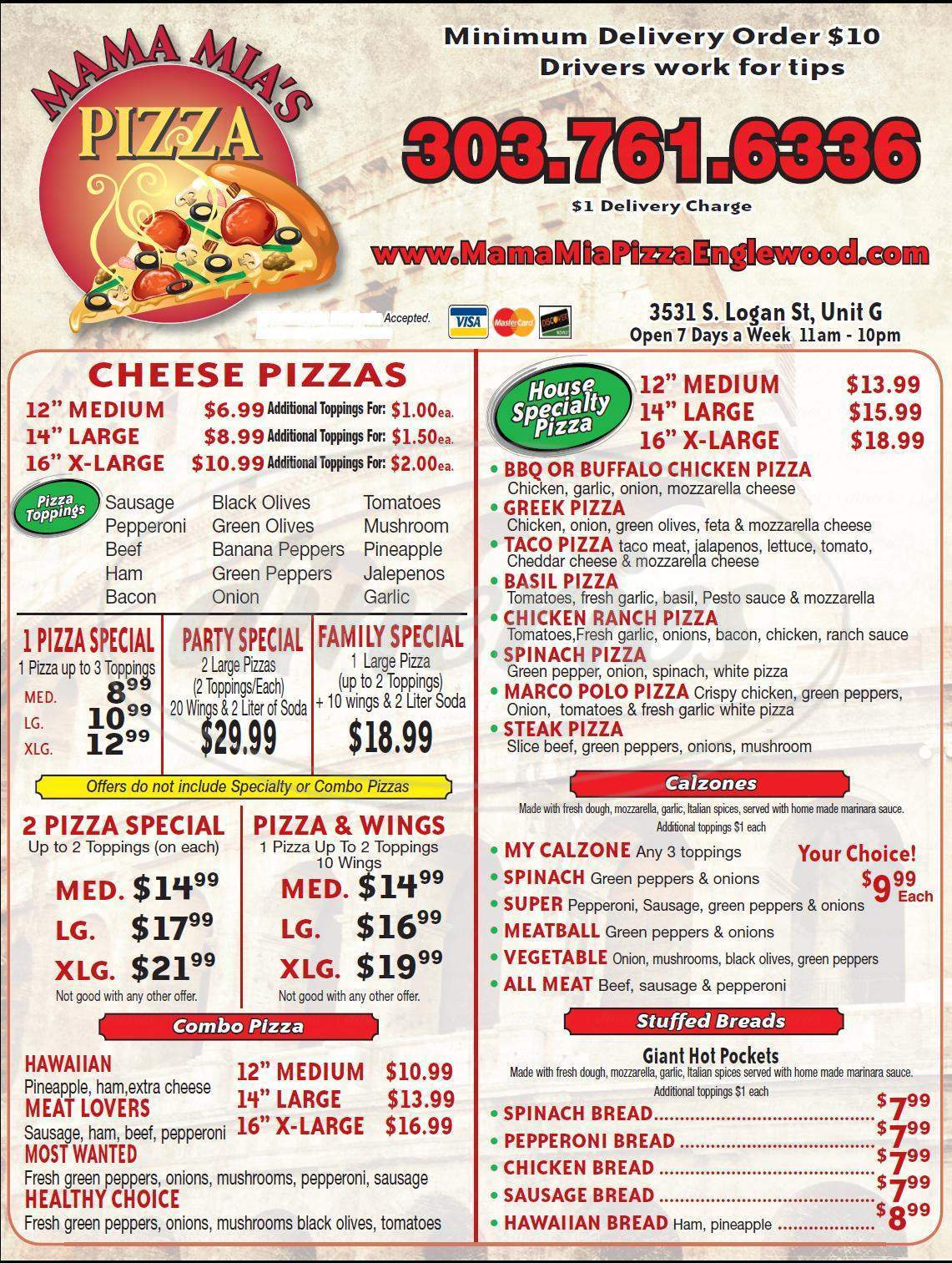 menu for Mama Mia's