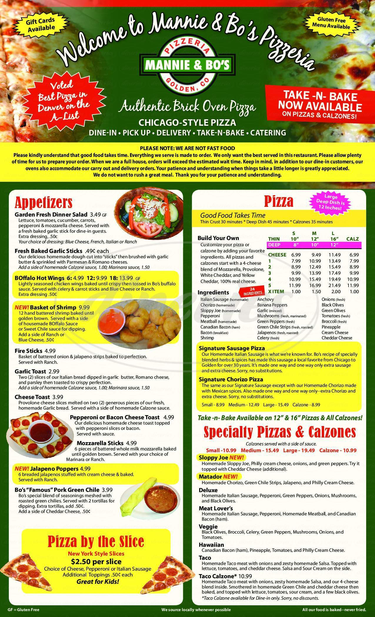 menu for Mannie & Bo's Pizzeria