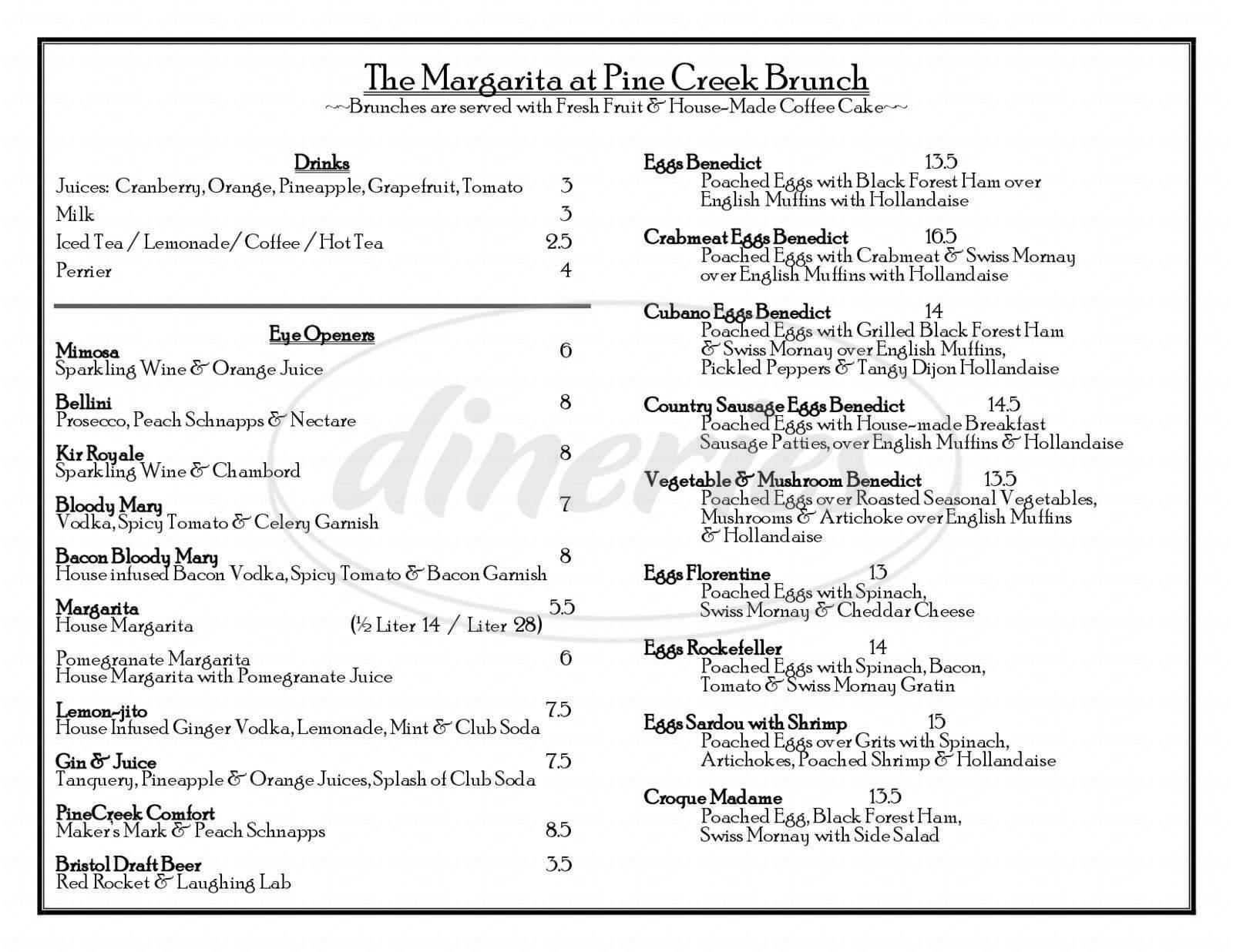 menu for Margarita At PineCreek