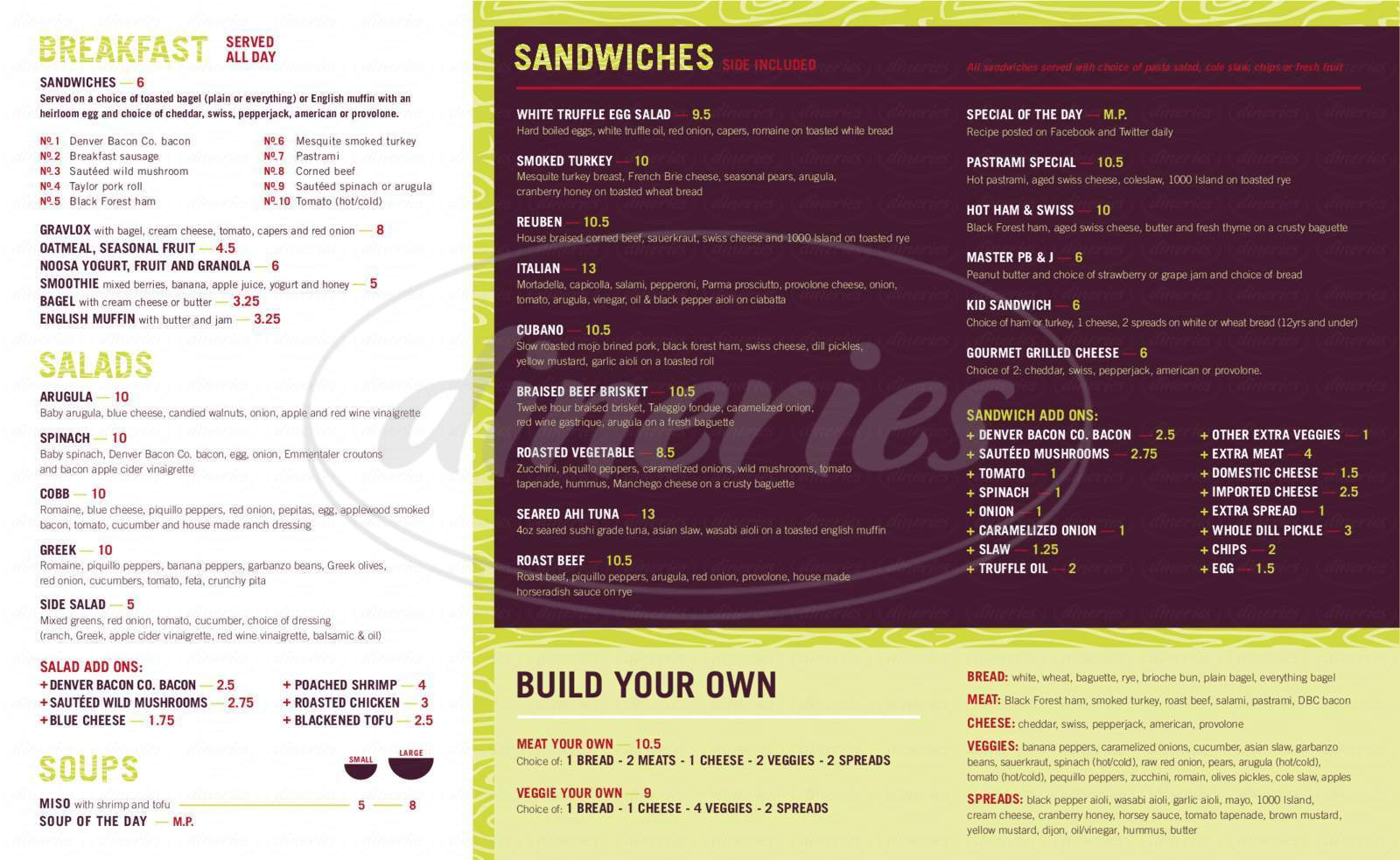 menu for Masterpiece Delicatessen
