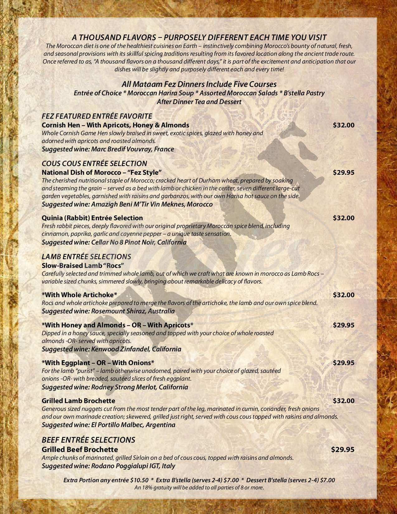 menu for Mataam Fez Moroccan Restaurant