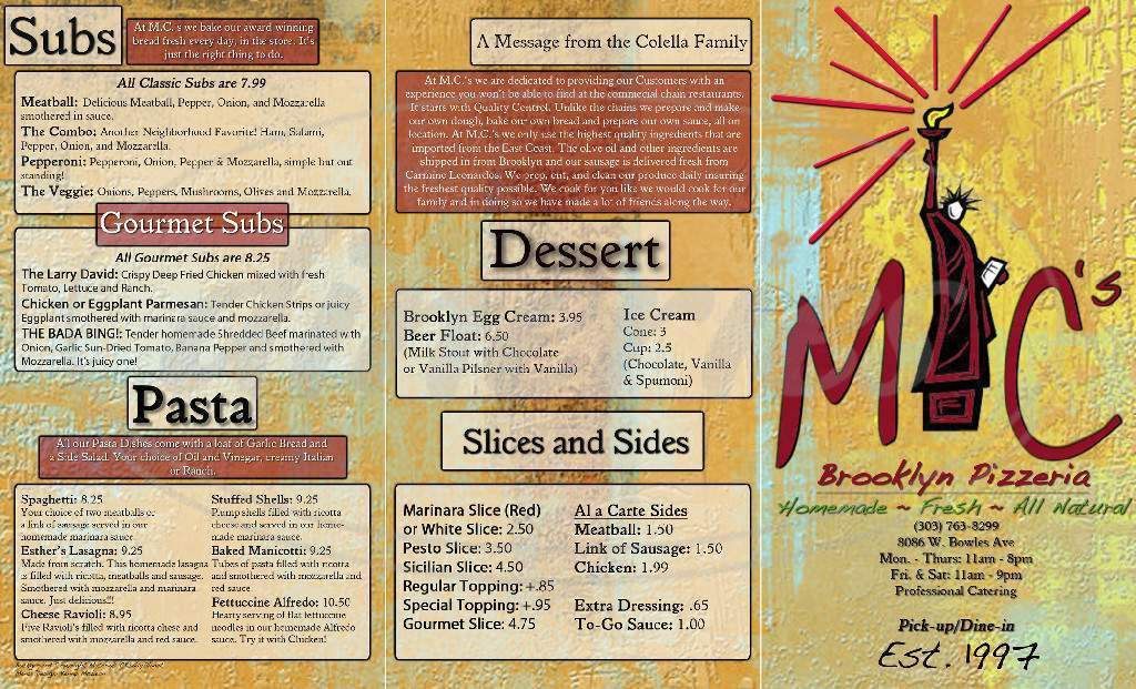 menu for MCs Pizzeria