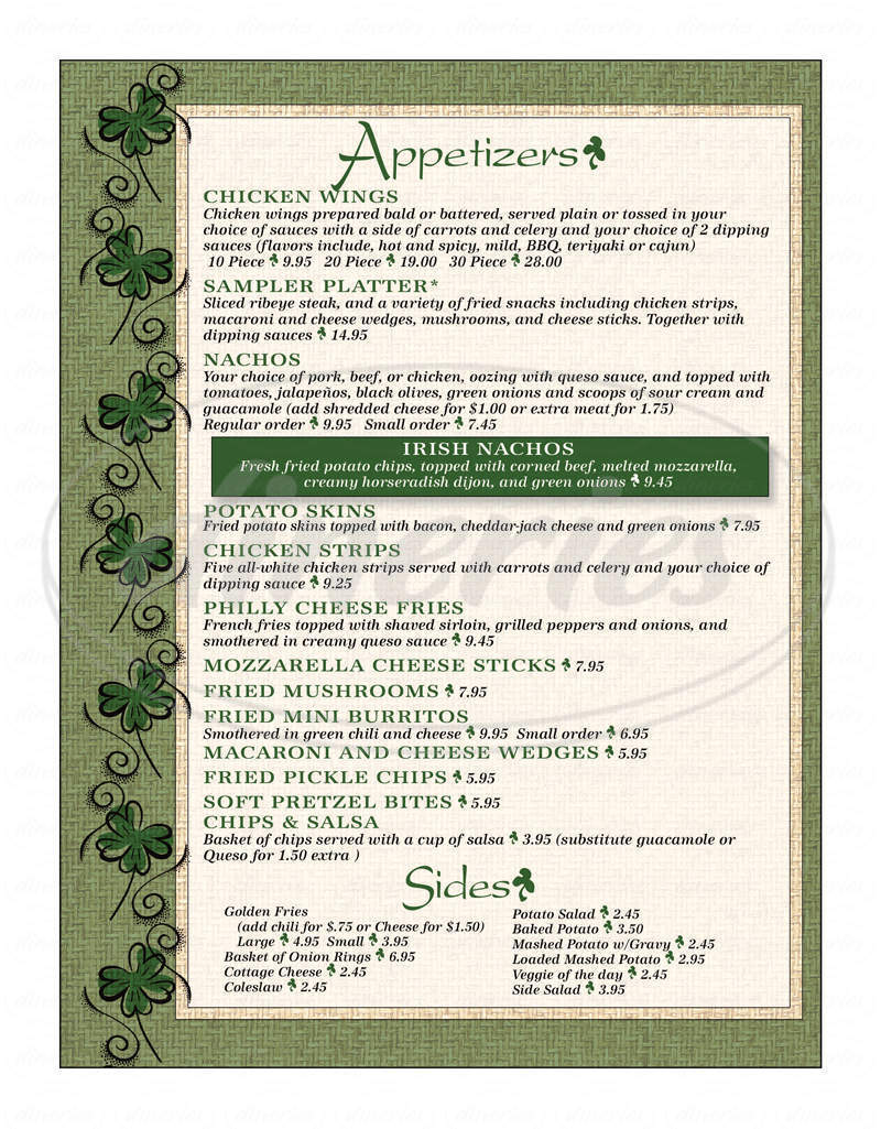 menu for McCarthy's Sports Bar & Grill