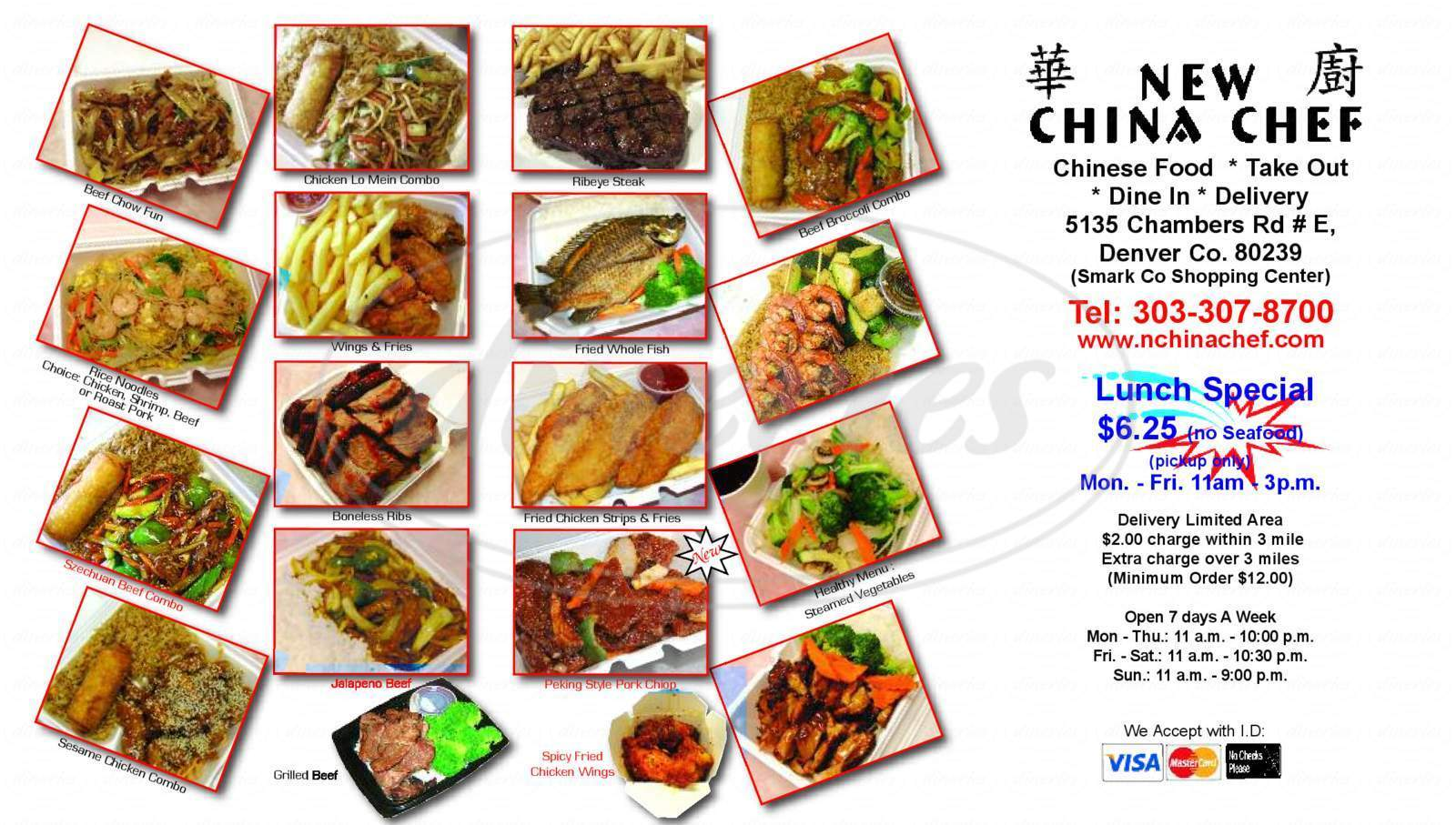 menu for New China Chef